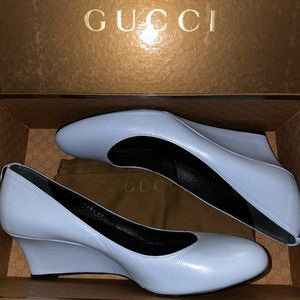 GUCCI Wedge Blue Leather Sandals